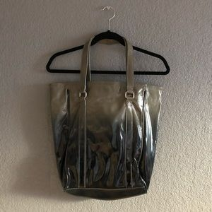 Ombré patent leather tote